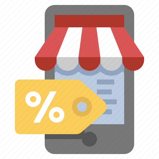 discount, mobile, sale, store icon