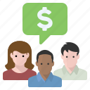 chat, finances, group, money icon