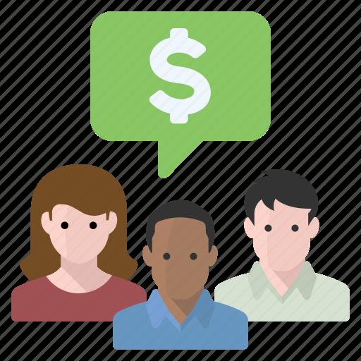 chat, finances, group, money icon