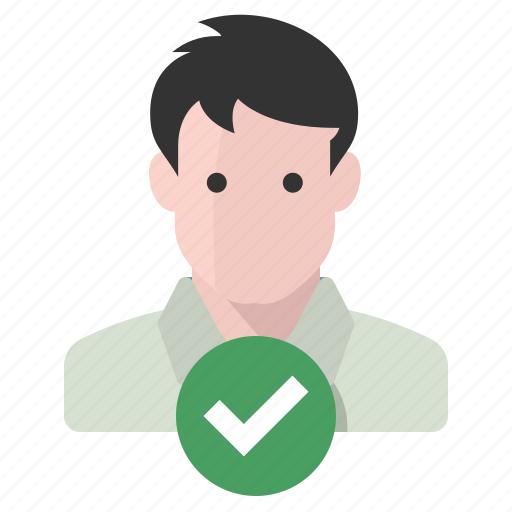 approved, identity, man, verified icon