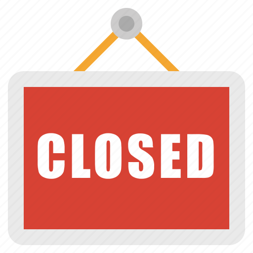 closed, sign, store icon