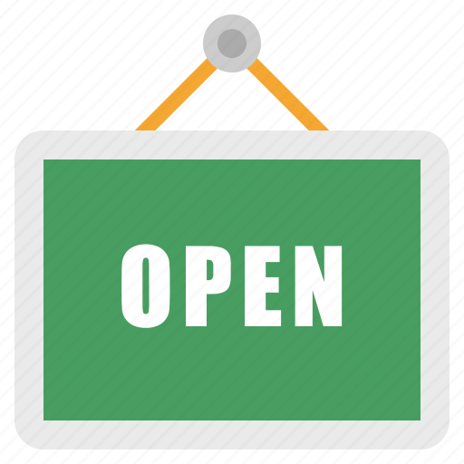 open, sign, store icon