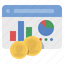 analytics, chart, coins, graph, money, website icon