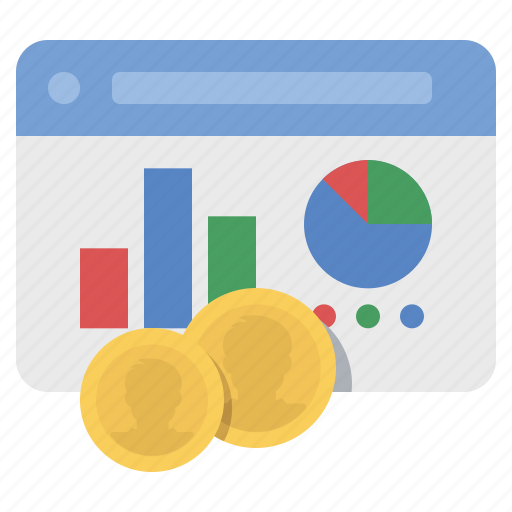 analytics, coins, money, website icon
