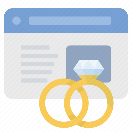 diamond, engagement, ring, website, wedding icon