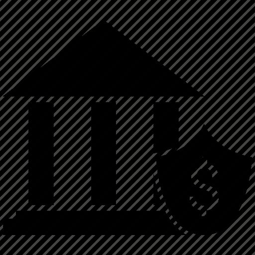 bank, decrease, investing, loss, shield icon