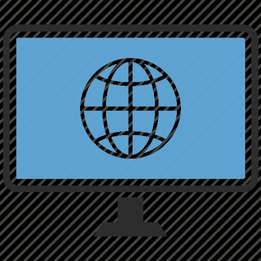 computer, display, earth, monitor, screen icon