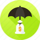 funds protection, insurance, protection, umbrella icon icon