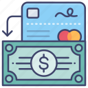 cash, in, money, withdraw icon
