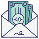 commision, envelope, fee, money icon