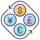 dollar, euro, currency, exchange icon