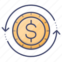 finance, money, transfer, processing icon