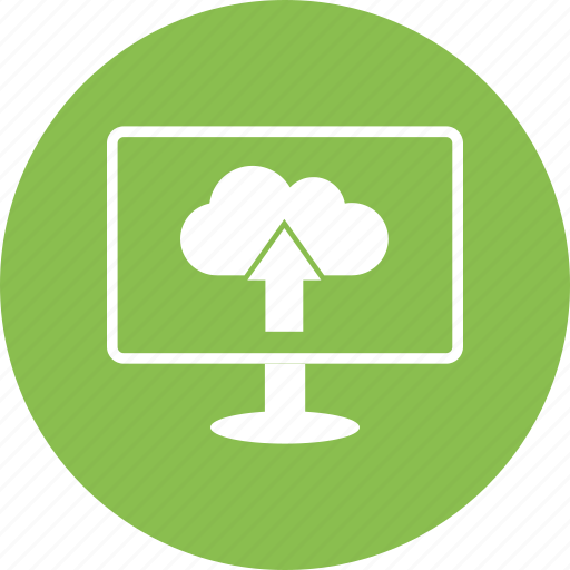 cloud, computer, display, monitor, screen, upload icon