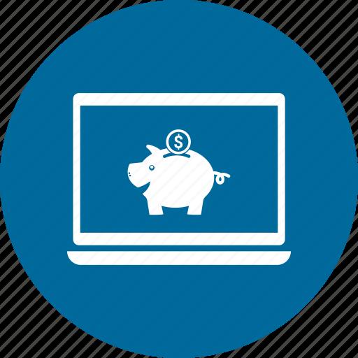app, application, bank, laptop, online, piggy icon