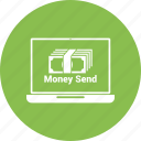 online money send, card money, laptop, dollar, payment