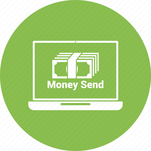 card money, dollar, laptop, online money send, payment icon