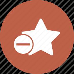 mark, minus, rank, star, white icon