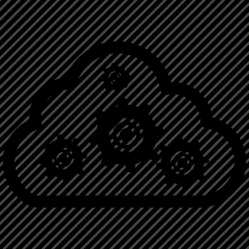 cloud, cog, machine, settings icon