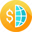 dollar, global business, globe, international, international business icon icon