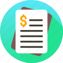 bill, financial report, invoice, receipt, tax icon icon
