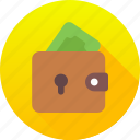 cash, coins, dollar, euro, money, money wallet, wallet icon icon
