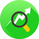 analysis, bar chart search, magnifying, search analytics icon icon