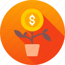 grow, money, money grow, profit, rise, savings icon icon