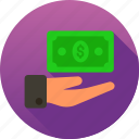 dollar, give, hand, money, payment icon icon