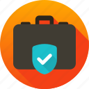 bag, bag safety, briefcase protection, protection, shield icon icon