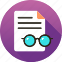 courses, education, glasses, page, paper icon icon
