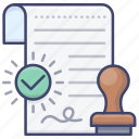 approve, authority, certificate, document icon