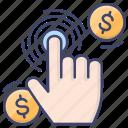 click, fingerprint, instant, pay icon