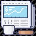 coffee, finance, news, newspaper icon