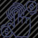 fingerprint, instant, click, pay icon