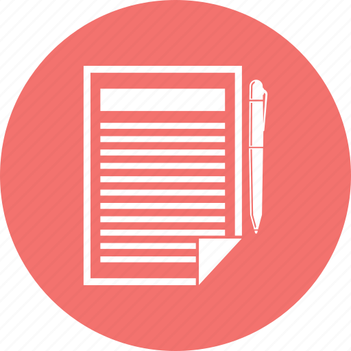 contract, paper, pen, sign icon