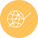 arrow, earth, global, growth, network icon