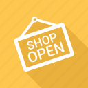 open shop, open sign, open store icon