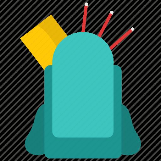 backpacks, bag, book, knowledge, pencil, school icon