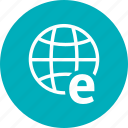 e, earth, globe, web, world icon