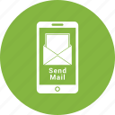 correspondence, email, envelope, letter, mail send mobile, mobile icon