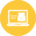 correspondence, email, envelope, laptop, letter, mail send laptop icon