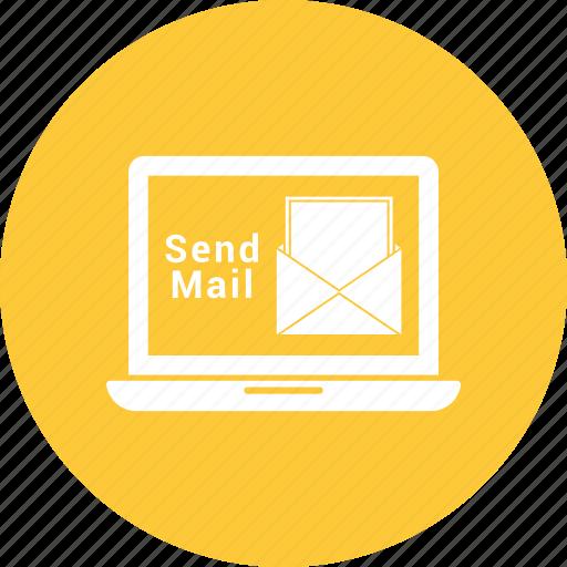 correspondence, email, envelope, laptop, letter, mail send laptop icon