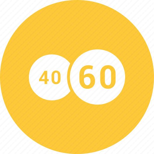 circle, forty, pie chart, sixty icon