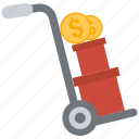 box, coin, dollar, trolley icon