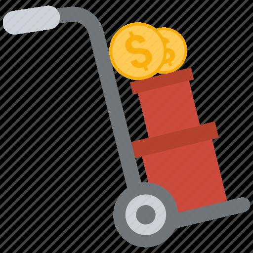 box, coin, dollar, trolley icon