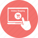 click, hand, laptop, laptop pc, macbook, notebook, online shopping icon