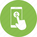 click, dollar, hand, mobile, phone, smartphone icon