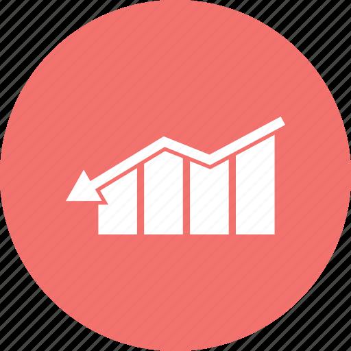 arrow, bar, down, graph, growth icon