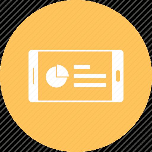 mobile, online market, phone, pie chart, smartphone icon