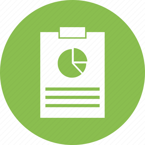 bar, note, notepad, page, pie chart, text icon